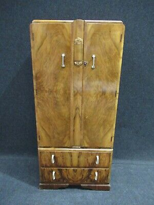Walnut Antique Edwardian French Wardrobe Mirror Fronted Superb Inlaid Detail