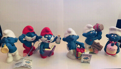 Vintage 1982 THE SMURFS Wallace Berrie Papa Smurf Ceramic Figurine Collection