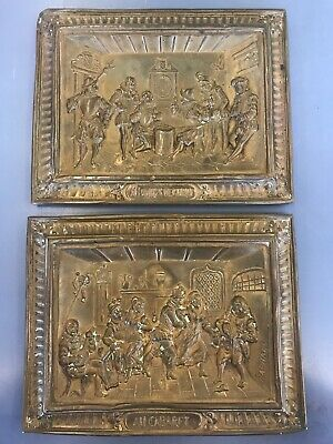 Pair Antique Metal Wall Panel Embossed Brass Bronze French Raphael Au Cabaret