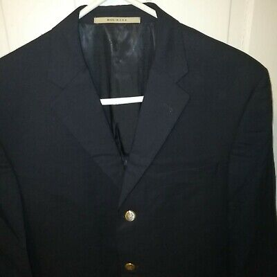 Burberry London Wool 41R Navy Blue Gold Toned Metal Button Blazer Dual Vented