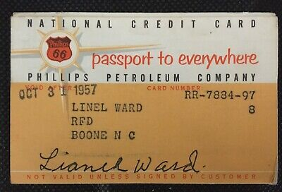 Phillips 66 Petroleum Company 1957 Vintage Collectors National Credit Card