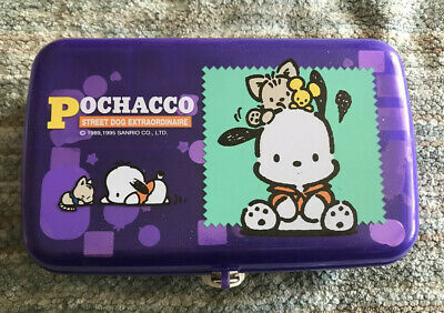 Vintage Sanrio Pochacco Pencil Box w/Stickers inside & Original Lock/key 1995