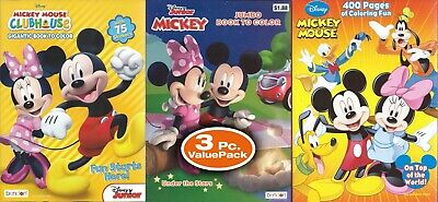 Lot of 3 Disney Mickey Mouse Coloring Books Activity - Children Kids Boys Girls