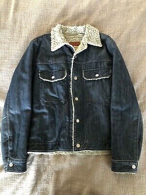 GAP 1969 Mens Jean Denim Trucker Jacket Fleece Sherpa Lined - Size MEDIUM