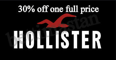 30% HOLLISTER Coupon code one full price works with 25% code