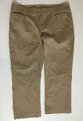 Lee Style Up Womens Pants Beige Cropped Pull On Size 18 Regular Stretch