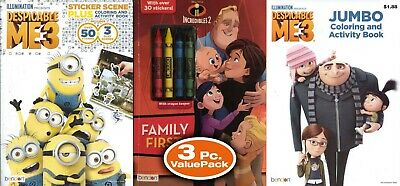 Lot of 3 Disney Coloring Books Incredibles Despicable Me Children Kids Boy Girl