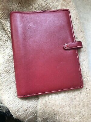 COACH Snap Front Red Leather Agenda Planner Organizer Carry Clutch