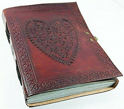 """Leather Journals Large Vintage Heart Embossed Journal 6"""" x 8"""""""