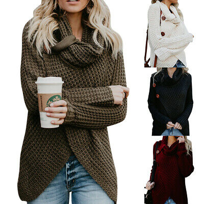 AU Women Winter Turtleneck Baggy Pullover Jumper Tops Thick Knitted Knitwear