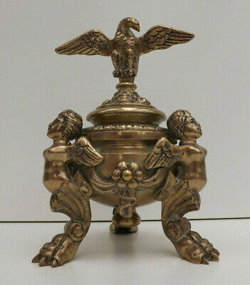 Antique Mid 19th Century Bronze French Empire Imperial Eagle Inkwell