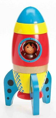 Premium Wooden Toy Rocket with Astronaut Age 3+