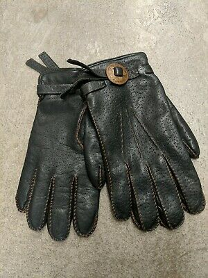 Patti Horn Vintage Leather Gloves  Blaxk Size Xl