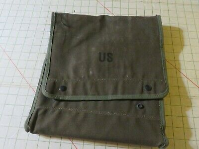 Vintage US Military Canvas Case Map and Photograph Bag with map protectors