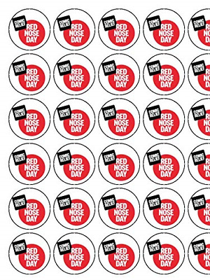 """30 x Red Nose Day Comic Relief 1.5/"""" PRE-CUT ICING Cake Toppers"""