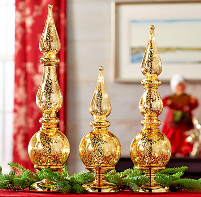 Set of 3 Illuminated Shatterproof Finials by Valerie GOLD H211892