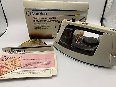 Vintage Norelco Electronic On/off Spray,steam,dry Iron With Box And Manual(j)