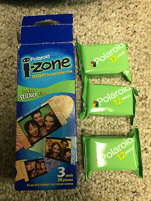 36 Polaroid I-Zone Instant Pocket Mini Photo Sticker Film In 3 Packs Exp 09/2001