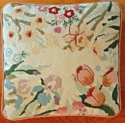 Needlepoint Pillow Antique Wool Hand Made Petit Point Initialed