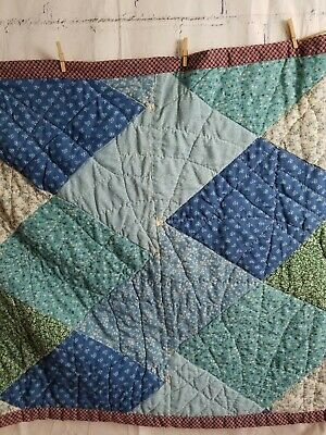 "Vintage Handmade Hand Stitched Americana Quilt 44"" W x 64"" L Cotton Blues Greens"