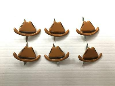 BRADS COWBOY HAT pk of 6 split pin craft cards cowgirl rodeo