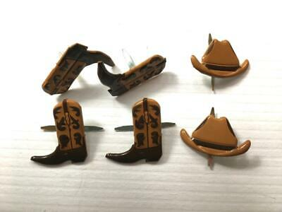 BRADS COWBOY SET  pk of 6  split pin craft cards boots hats cowgirl rodeo