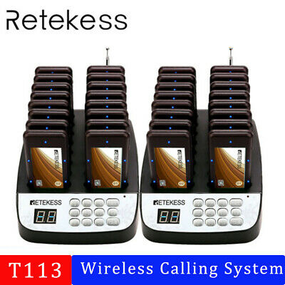 Retekess T113 Wireless Restaurant Service Paging Queuing System 32Coaster Pagers