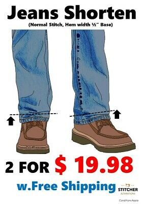Hemming Shorten Taking up Pants Jeans Trouser $19.98 for 2 pairs w.Free shipping