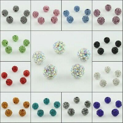10pcs Sparkle Candy Czech Crystal Round Disco Ball Clay Spacer Loose Beads 10mm