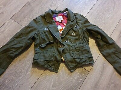 Next Girl's Khaki Green Cropped Collared Jacket Age 5-6 Years