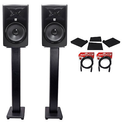 """(2) JBL 308P MkII 8"""" Powered Studio Monitors+Stands+Isolation Pads+XLR Cables"""