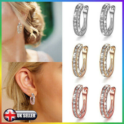 Fashion Women Crystal Charm Silver Rose Gold Round Stud Hoop Earrings Jewelry UK