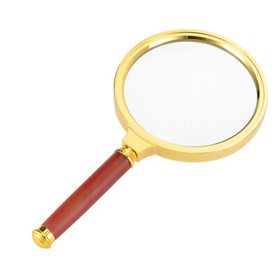 80mm 4X Handheld Magnifying Glass Lens Magnifier Gold Tone