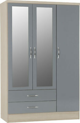 Nevada Grey 3 Door 2 Drawer Mirrored Wardrobe