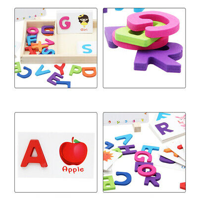 Words Child Toy Letter Cards Wooden 1 Set Alphabet Early Education Learning Box