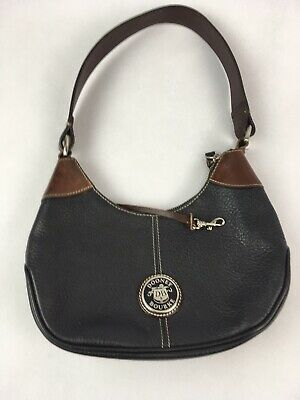 Authentic Dooney & Bourke All Weather Leather Black and Tan Small Shoulder Bag