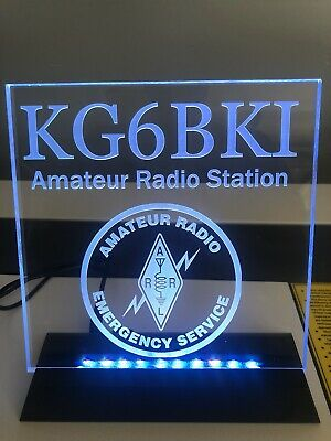 Changeable Color 44 Key Remote Engraved LED Ham Shack Amateur Radio Call Sign