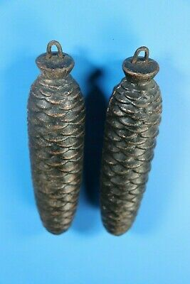 "Pair of HUGE Black Forest PineCone Cuckoo Clock Weights 8"" -Just Over 3 lbs each"