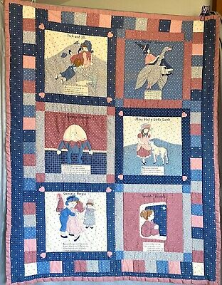 Nursery Rhyme Crib Quilt / Wall Hanging - Mother Goose, Humpty Dumpty, Twinkle