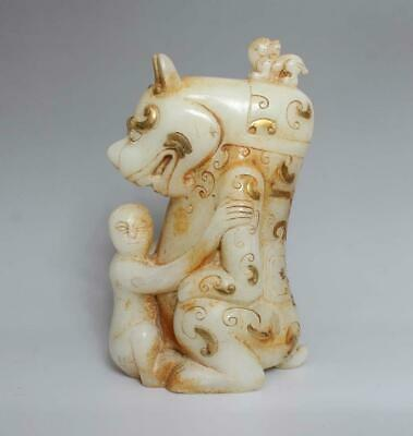 """Old Fine Chinese Carved White Jade Statue with Kylin H7.87"""""""