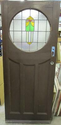 """OLD ENGLISH Stained Glass Door Pretty Abstract Circular Design 34"""" x 81"""""""