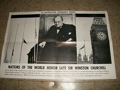 1965 Illustrated Daily News Tribute Poster to Winston Churchill 19x12 inches