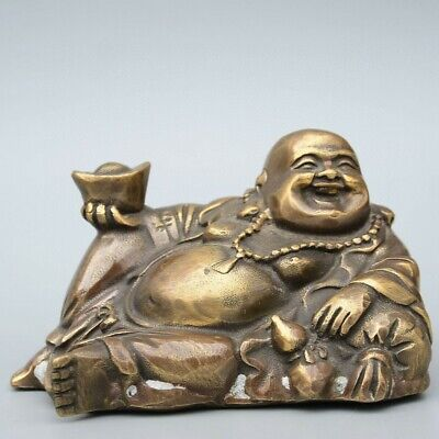 Collectable China Old Bronze Hand-Carved Buddha & Wealth Bring Luck Decor Statue