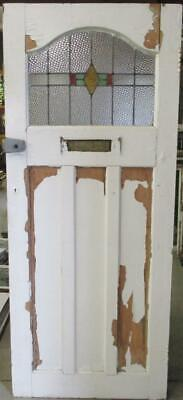 """OLD ENGLISH Stained Glass Door Pretty Arched Geometric Design 32"""" x 78"""""""