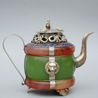 Collect Miao Silver Armour Agate Carve Myth Dragon & Monkey Bring Luck Tea Pot