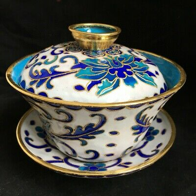 Collectable China Old Cloisonne Hand-Carve Bloomy Flower Delicate Unique Tea Cup