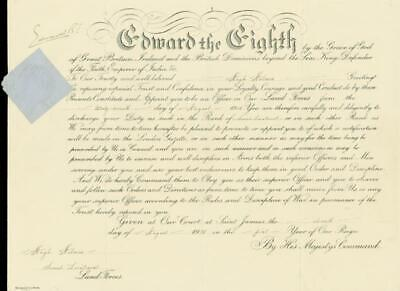 King Edward Viii - Military Appointment Signed