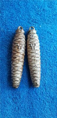 2 German Pinecone Cuckoo Clock Weights Parts or Repair 10oz 275 ET F86