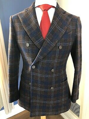Stunning Unlined Tweed Gran Sasso Double Breasted Blazer 38S