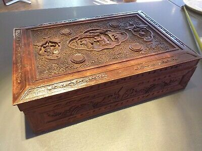ANTIQUE 19th century wooden carved CHINESE box CARVINGS lotus lily flowers WOOD